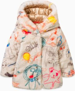 fake fur oillily jas met print kindertekeningen